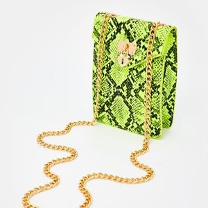 Lime Green Snakeskin Purse